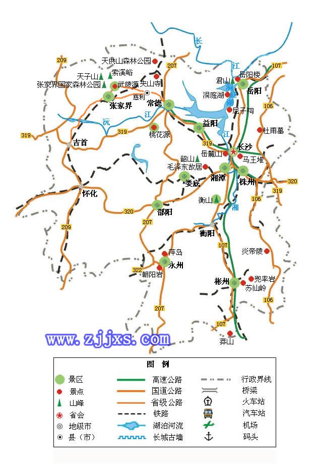 到凤凰古城地图