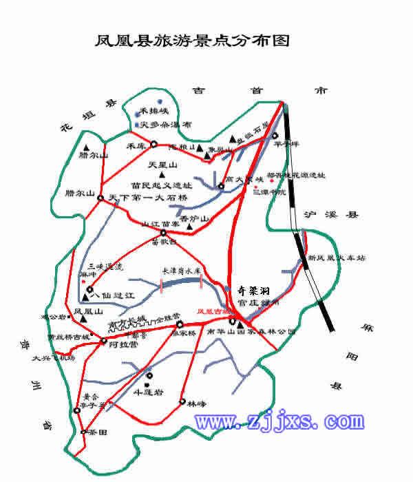 湘西凤凰古城旅游交通地图